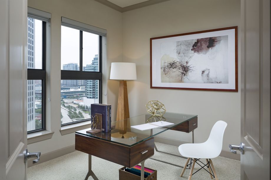 Study with Houston Skyline Views at Camden Post Oak Apartments in Houston, TX