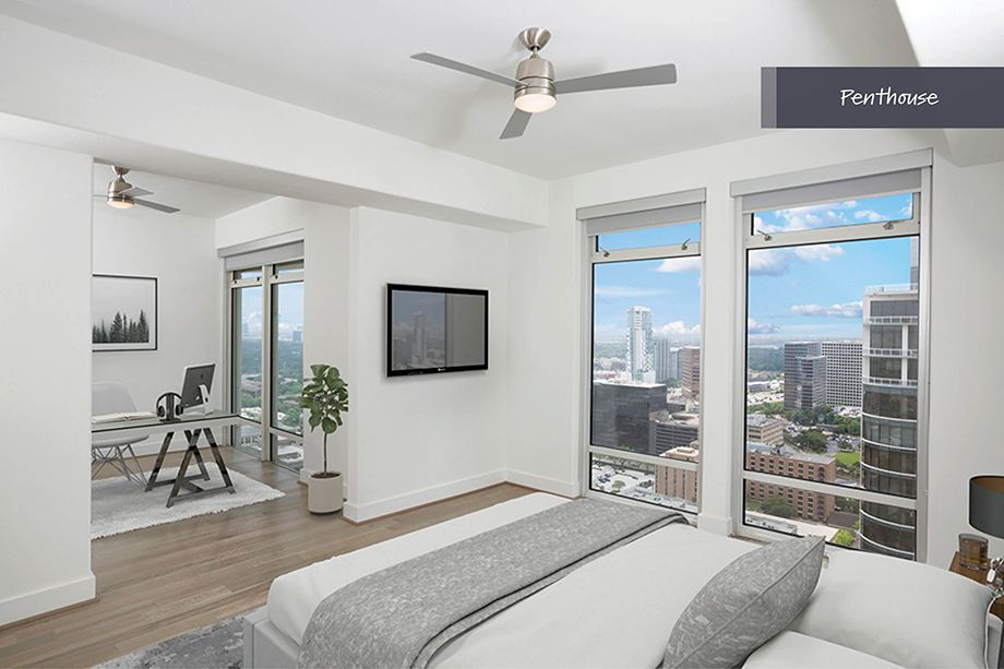 Spacious Penthouse Bedroom with Galleria Views at Camden Post Oak Apartment Building in Houston, TX