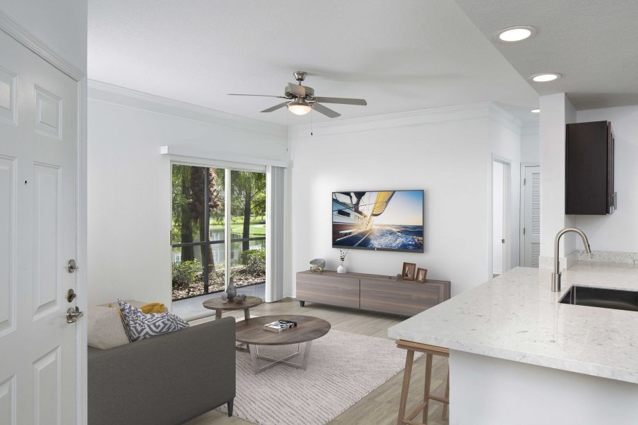 Living Room at Camden Preserve Apartments in Tampa, FL