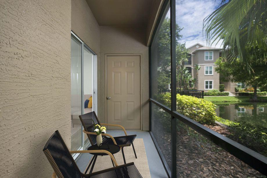Patio at Camden Preserve Apartments in Tampa, FL