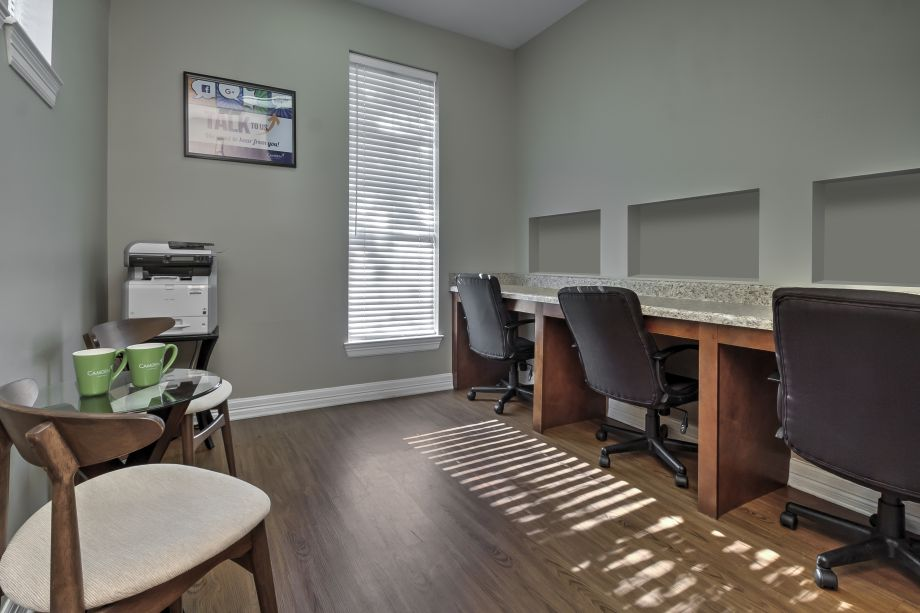 Community workspace at Camden Reunion Park Apartments in Apex, NC