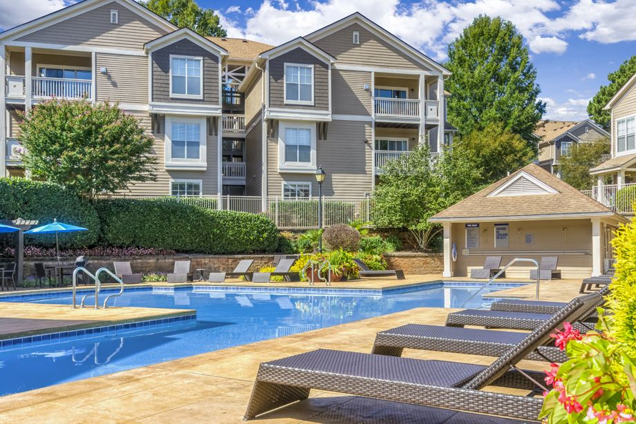 Swimming pool at Camden Sedgebrook Apartments in Huntersville, NC