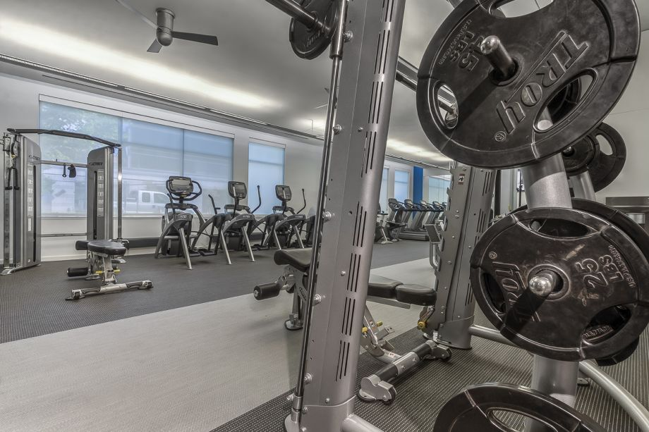 Fitness Center with Free Weights at Camden South Capitol Apartments in Washington, DC