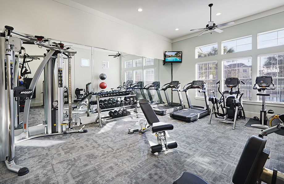 Fitness Center with Cardio Equipment and Free Weights at Camden Spring Creek Apartments in Spring and The Woodlands, TX