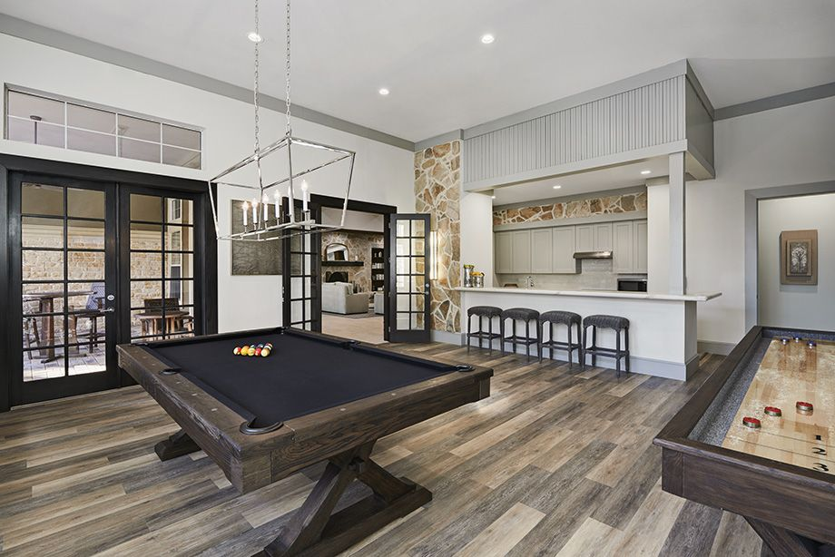 Social Lounge with Billiards and Gourmet Kitchen at Camden Spring Creek Apartments in Spring and The Woodlands, TX