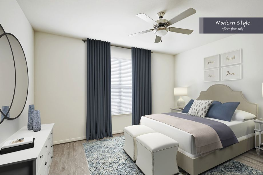 Modern Style Bedroom at Camden Spring Creek Apartments in Spring and The Woodlands, TX