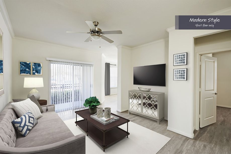Modern Style Living Room at Camden Spring Creek Apartments in Spring and The Woodlands, TX