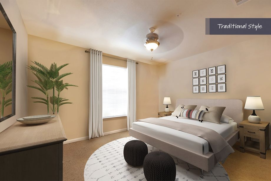 Traditional Style Bedroom at Camden Spring Creek Apartments in Spring and The Woodlands, TX
