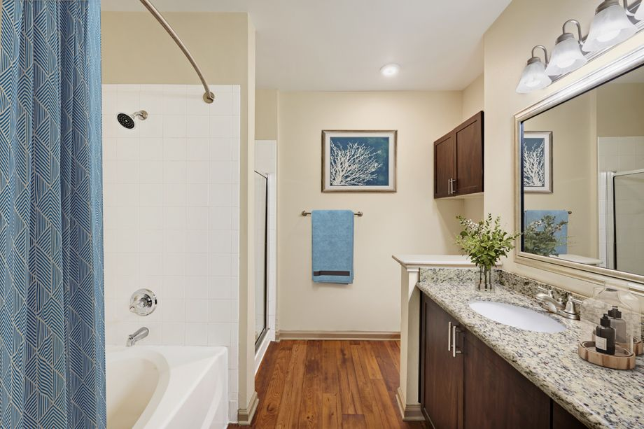 Spacious bathroom at Camden Stoneleigh Apartments in Austin, TX