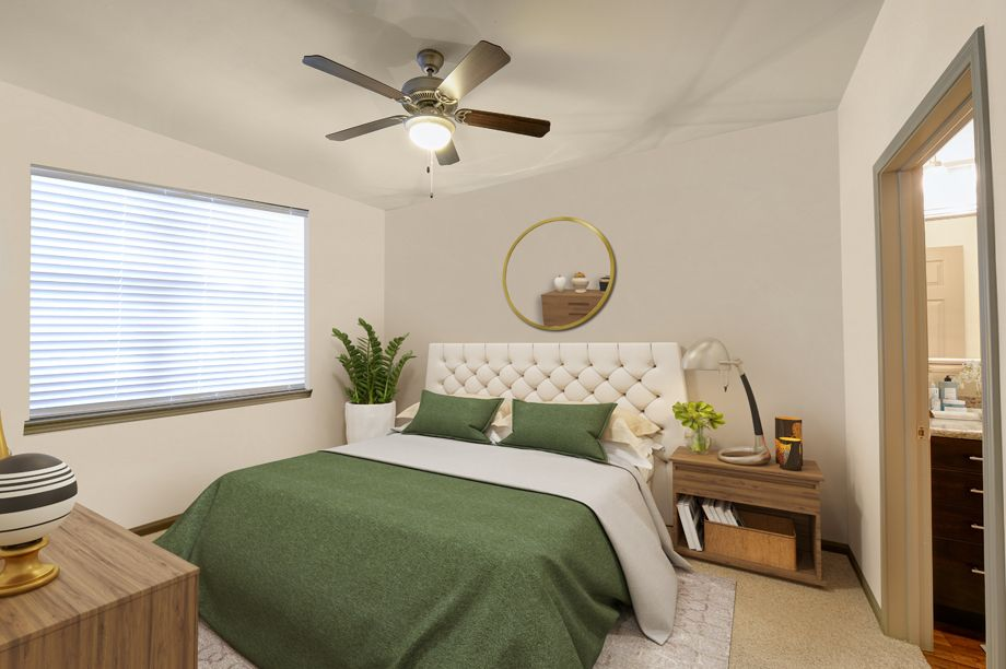 Bedroom with ceiling fan at Camden Stoneleigh Apartments in Austin, TX