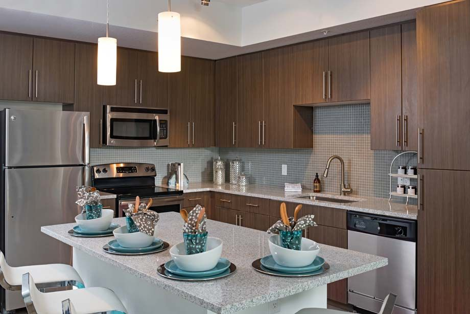 Large Kitchen Island in Two Bedroom Apartment Home at Camden Thornton Park Apartments in Orlando, FL
