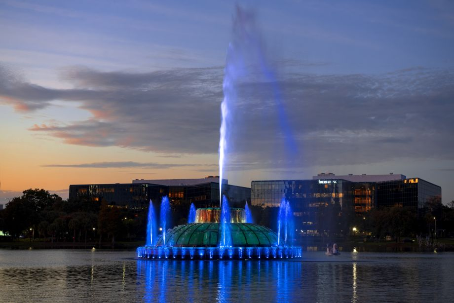Lake Eola Fountain near Camden Thornton Park Apartments in Orlando, FL