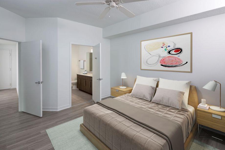 Bedroom at Camden Thornton Park Apartments in Orlando, FL