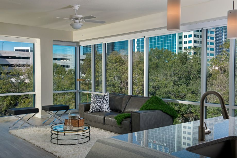 Floor to ceiling windows at Camden Thornton Park Apartments in Orlando, FL