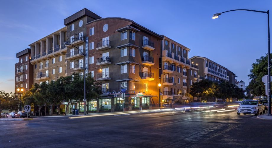 Exterior at Night of Camden Tuscany Apartments in San Diego, CA