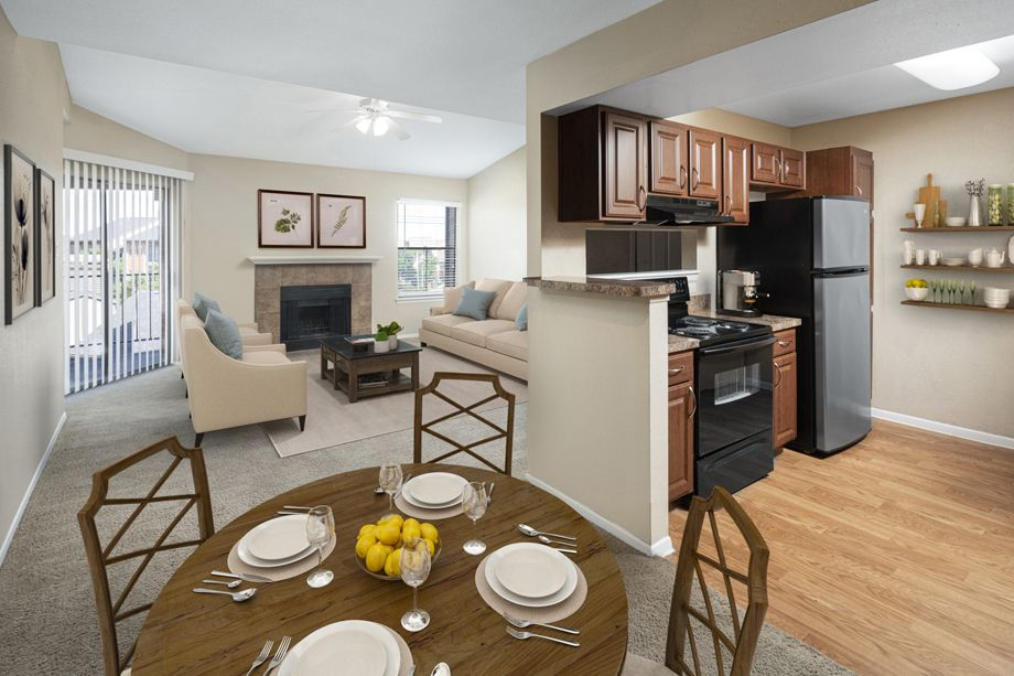 Kitchen and dining area at Camden Valley Park Apartments in Irving, TX