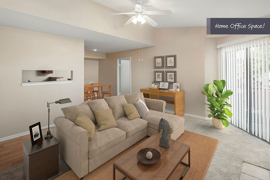 Living room and home office space at Camden Valley Park Apartments in Irving, TX