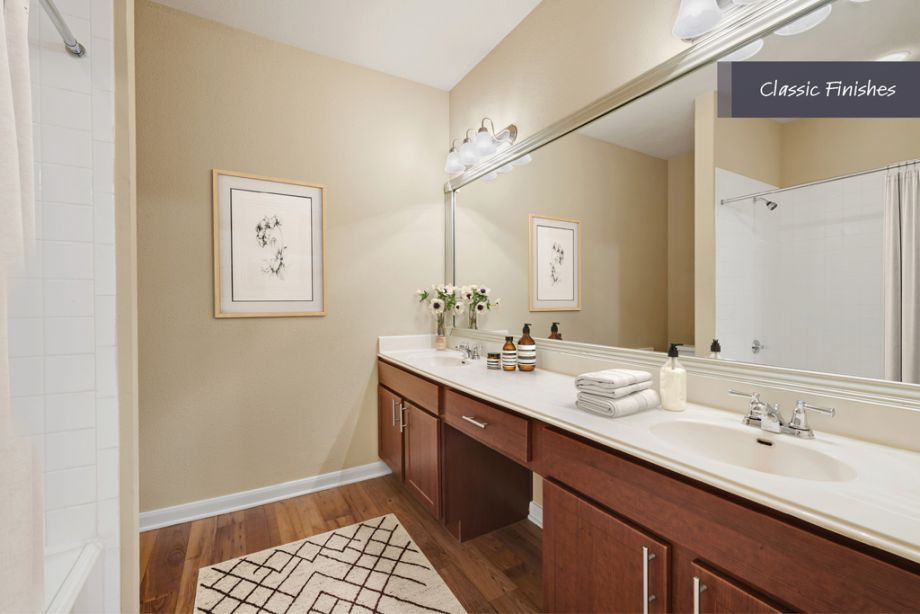 Bathroom with Classic Finishes at Camden Vanderbilt Apartments in Houston, Texas