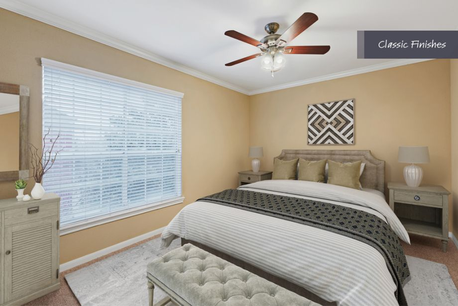 Bedroom with Classic Finishes at Camden Vanderbilt Apartments in Houston, Texas