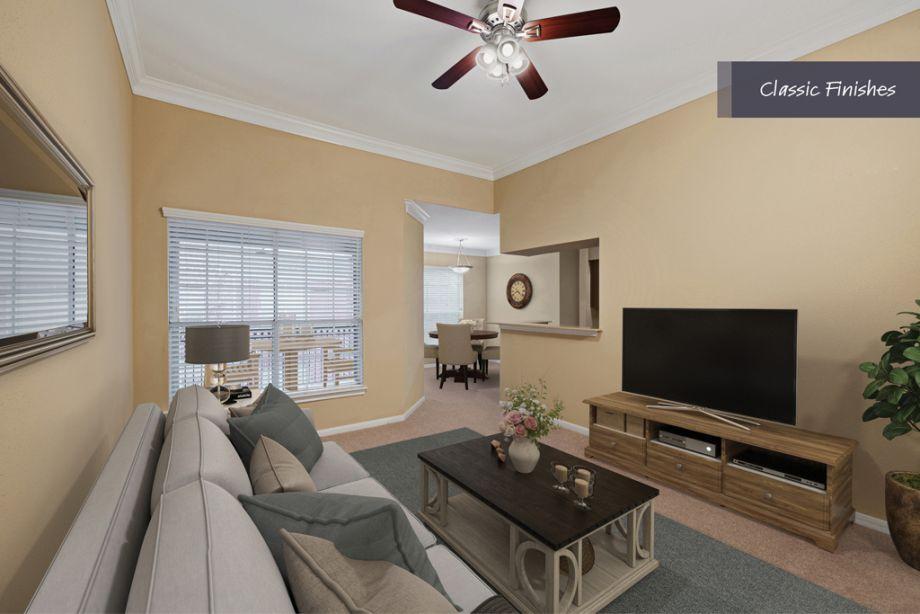 Living Room at Camden Vanderbilt Apartments in Houston, Texas