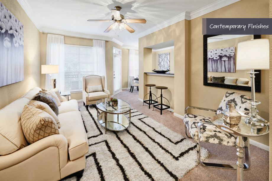 Living room with contemporary finishes at Camden Vanderbilt Apartments in Houston, TX