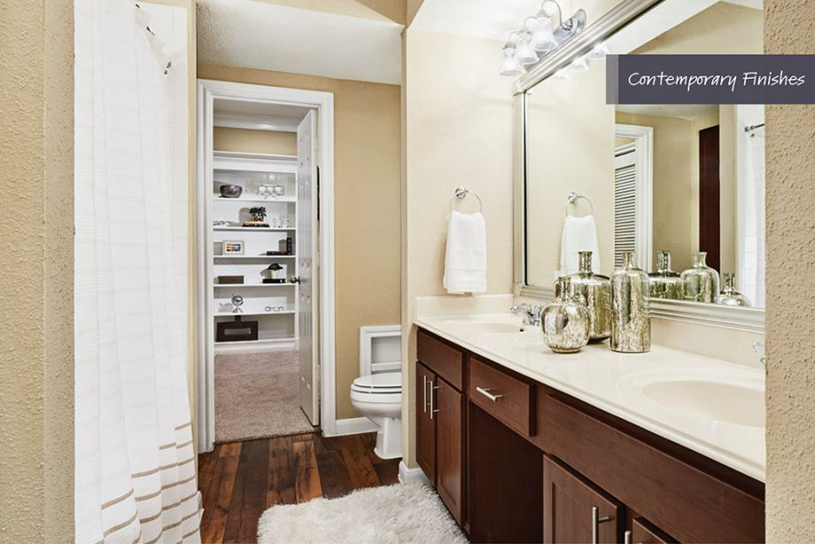 Bathroom with Contemporary Finishes at Camden Vanderbilt Apartments in Houston, Texas