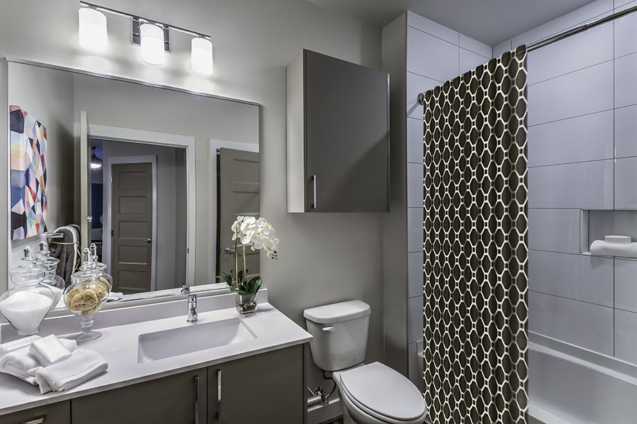 Bathroom with Quartz Countertops at Camden Washingtonian Apartments in Gaithersburg, MD