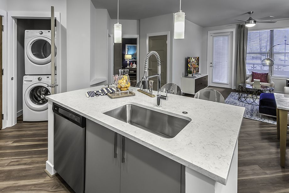 Kitchen Island with Silestone Quartz Countertops at Camden Washingtonian Apartments in Gaithersburg, MD