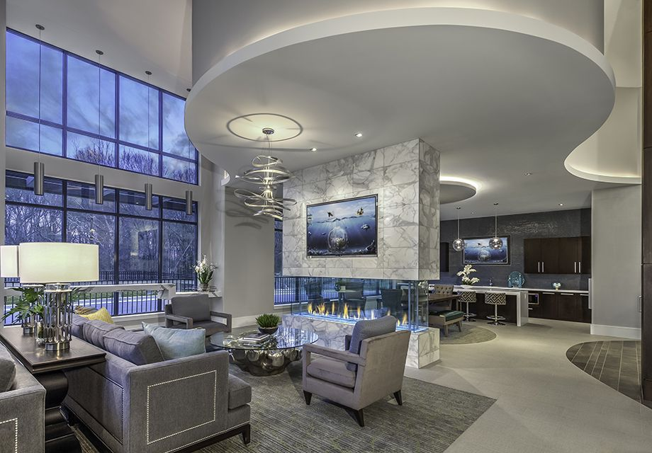 Lobby with Kitchen at Camden Washingtonian Apartments in Gaithersburg, MD