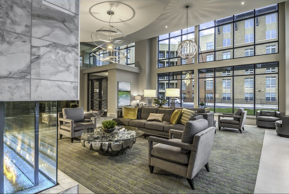 Leasing Center Lobby with Fireplace at Camden Washingtonian Apartments in Gaithersburg, MD