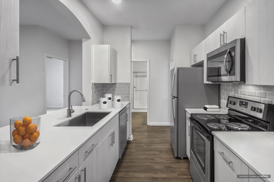 Kitchen with stainless steel appliances at Camden Governors Village Apartments in Chapel Hill, NC