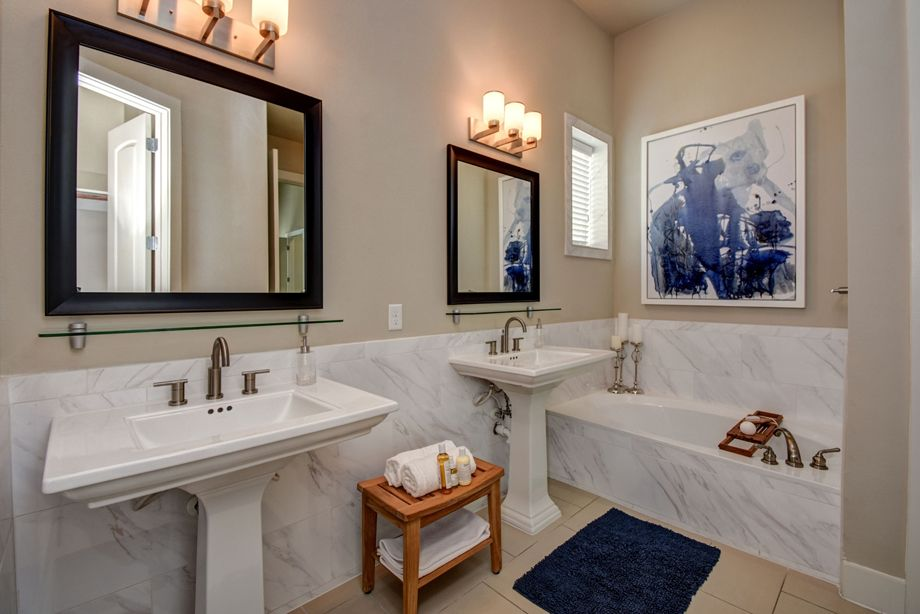 Main Bathroom at Camden Highland Village townhomes in Houston, TX