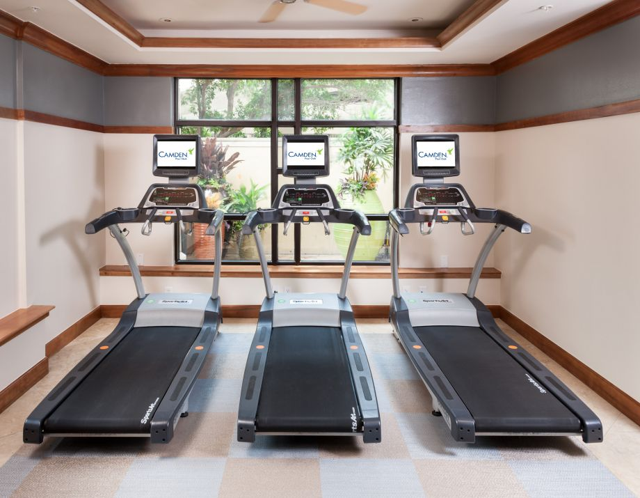 Fitness Center with Treadmills at Camden Post Oak High Rise Luxury Apartments in Houston Galleria, Texas