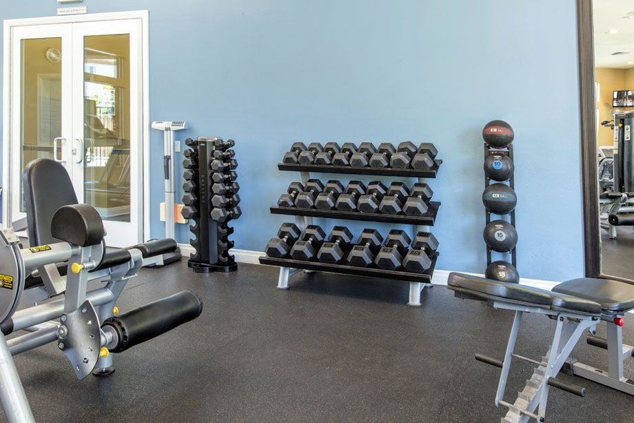 Fitness Center with free weights at Camden Sierra at Otay Ranch apartments in Chula Vista, CA