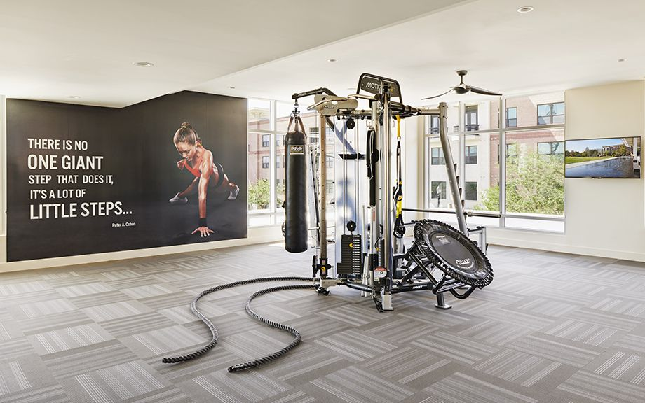 Camden McGowen Station Midtown Houston Townhomes cardio and free weights fitness center