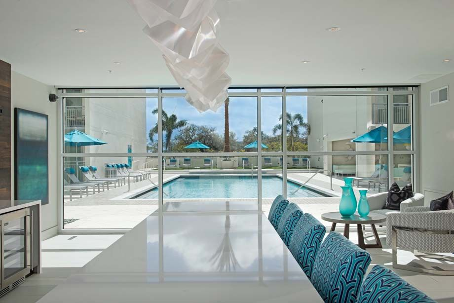 Clubroom with pool views at Camden Thornton Park apartments in Orlando, FL