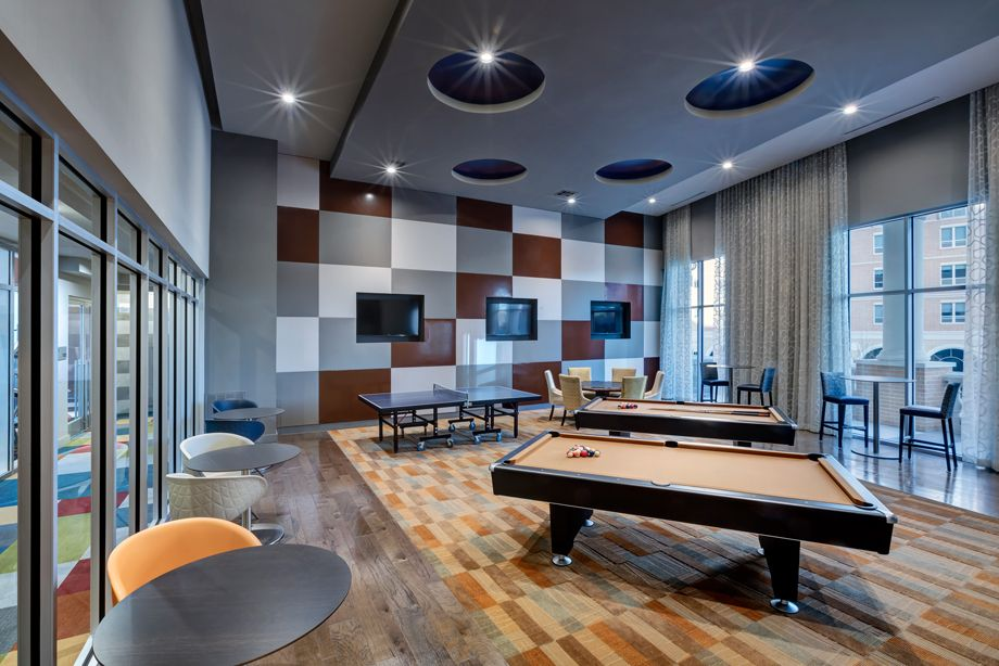 Resident Lounge with Billiards at Camden Highland Village townhomes in Houston, TX