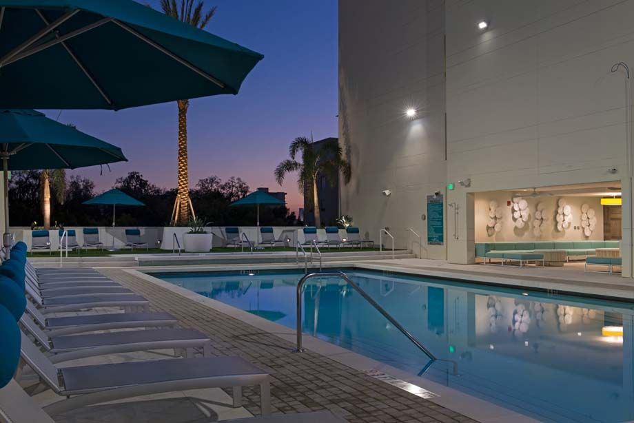 Resort-style swimming pool at Camden Thornton Park apartments in Orlando, FL