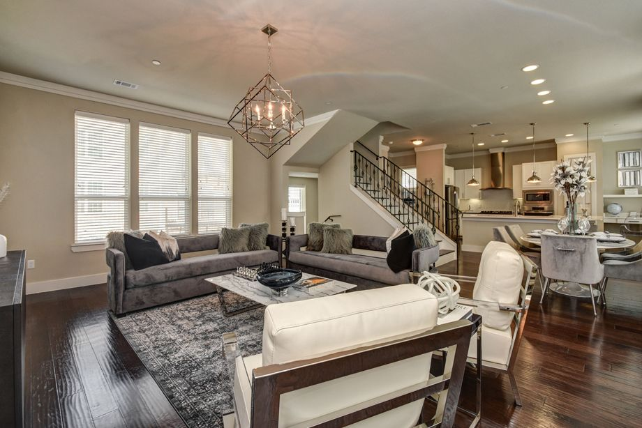 Living Room at Camden Highland Village townhomes in Houston, TX