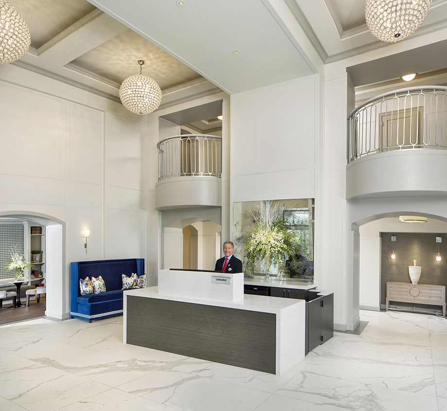 Gorgeous Lobby with 24-Hour Concierge at Camden Post Oak High Rise Luxury Apartments in Houston Galleria, Texas