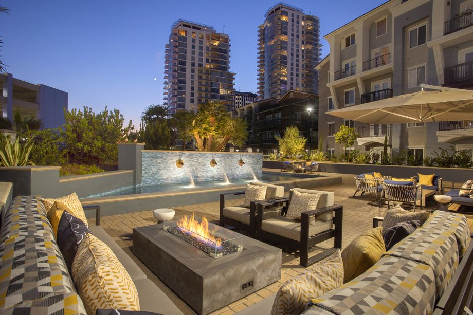 Outdoor Fire Lounge at Camden Harbor View Apartments in Long Beach, CA
