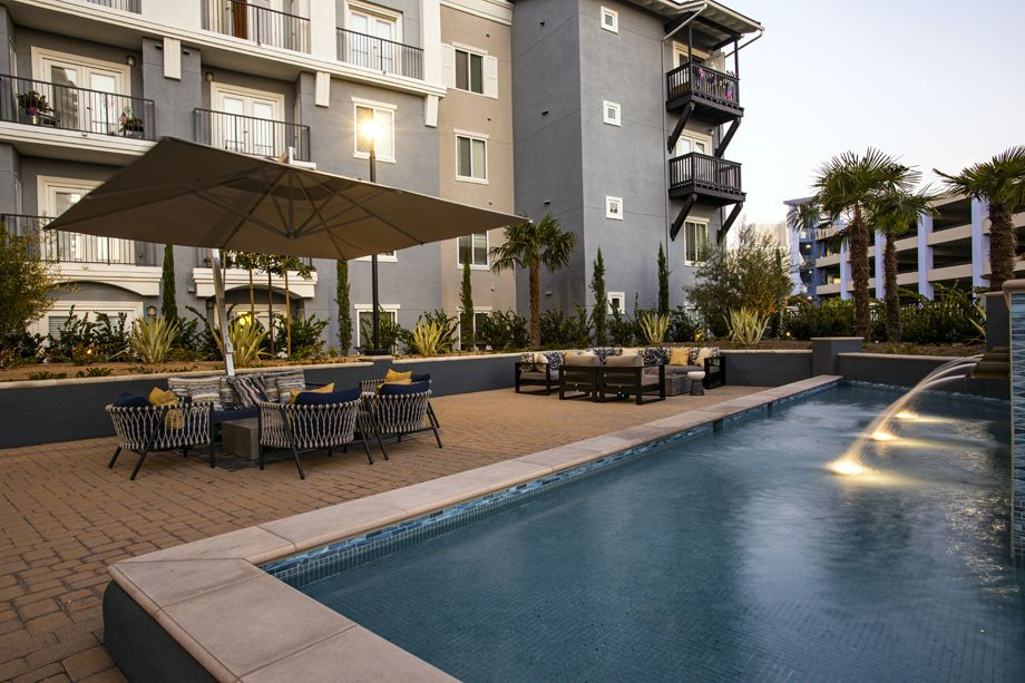 Outdoor Lounge at Camden Harbor View Apartments in Long Beach, CA