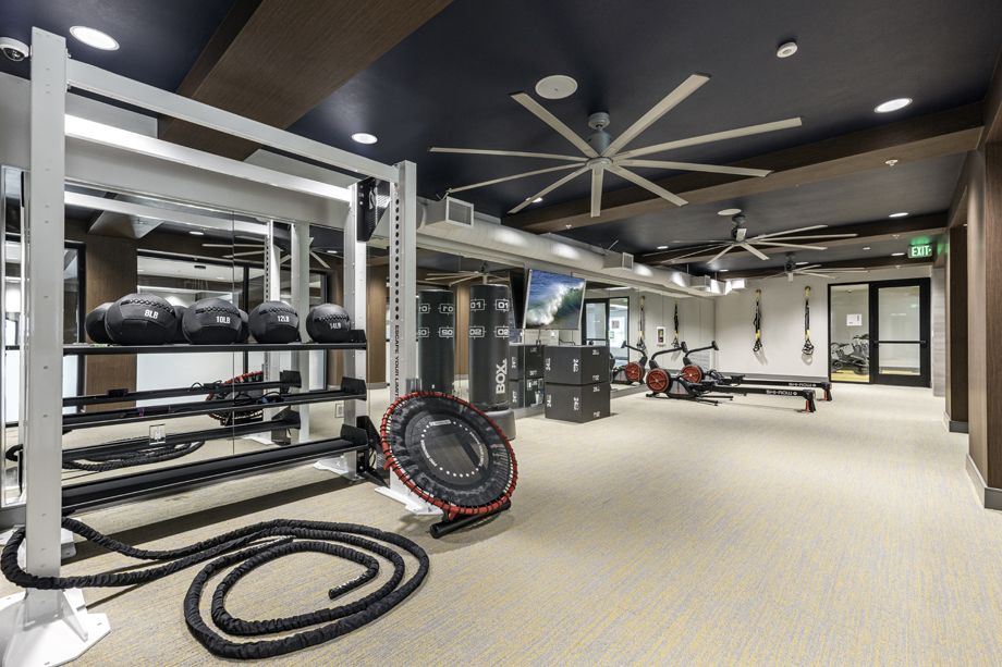 Fitness Center with fitness rope at Camden Harbor View Apartments in Long Beach, CA