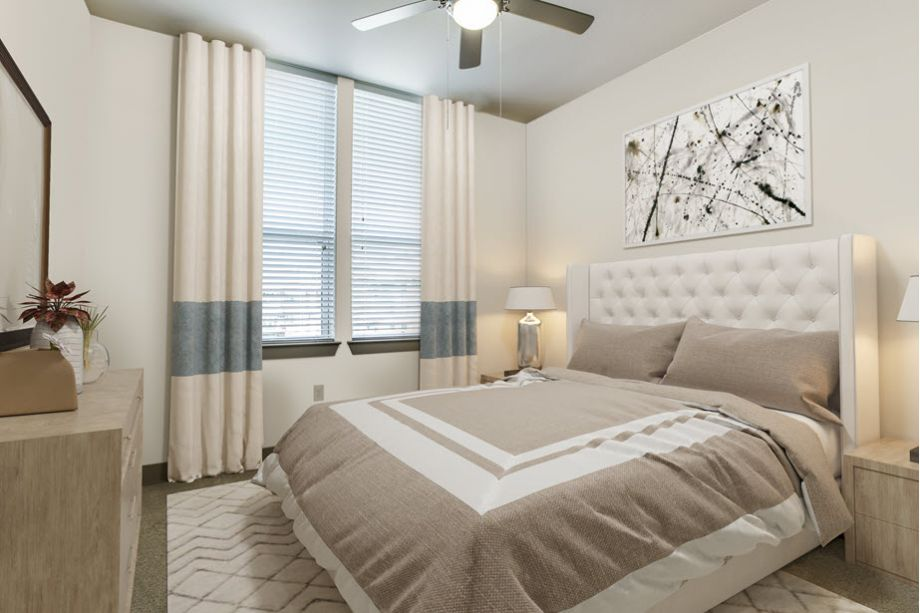 Townhome bedroom at Camden Belmont apartments in Dallas, TX
