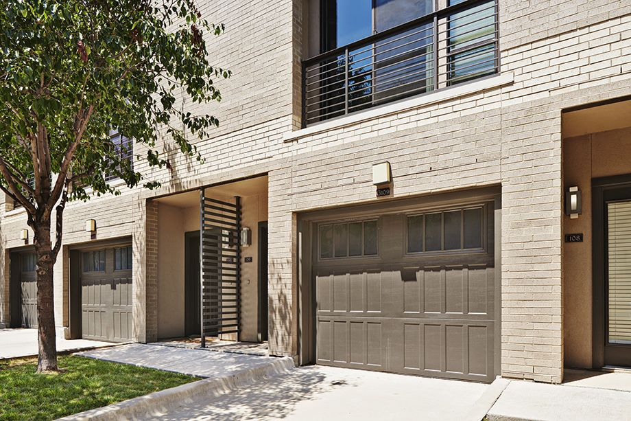 Private, townhome garage exterior at Camden Belmont apartments in Dallas, TX