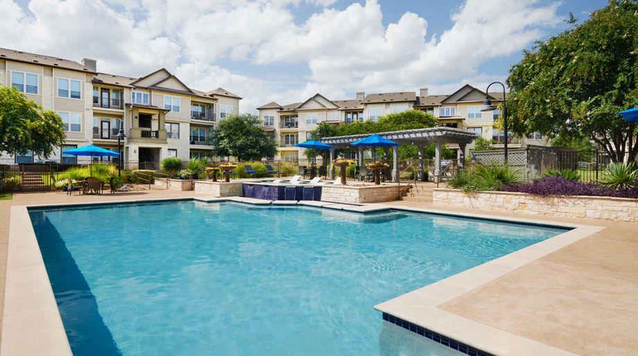 Resort-style pool at Camden Cedar Hills apartments in Austin, TX
