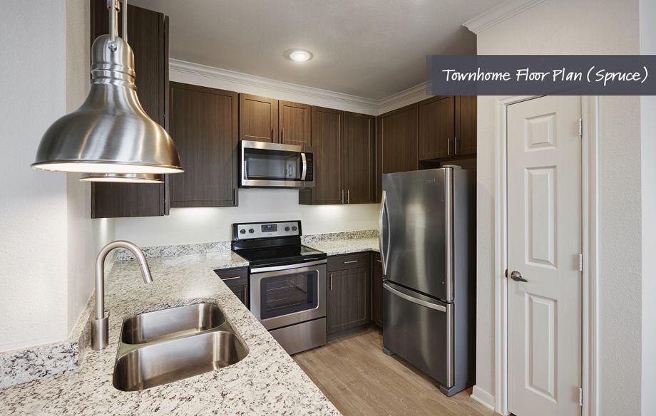 Townhome kitchen at Camden Cedar Hills apartments in Austin, TX