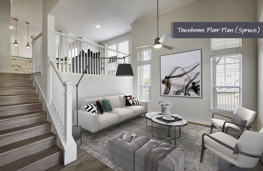 Townhome living room and stairs at Camden Cedar Hills apartments in Austin, TX