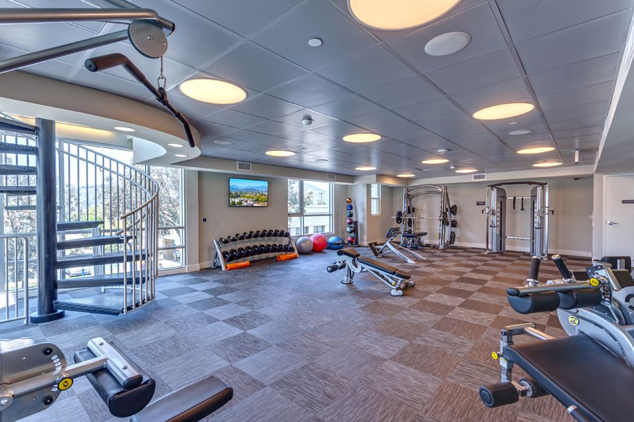 24-Hour Fitness Center with Strength Training Equipment at Camden Glendale apartments in Glendale, CA