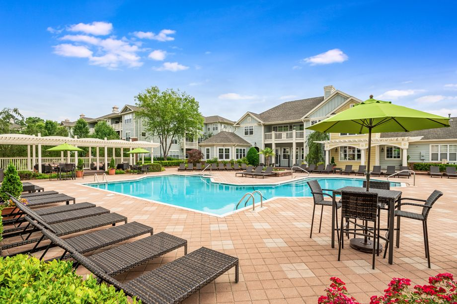 Resort-style swimming pool at Camden Governors Village Apartments in Chapel Hill, NC